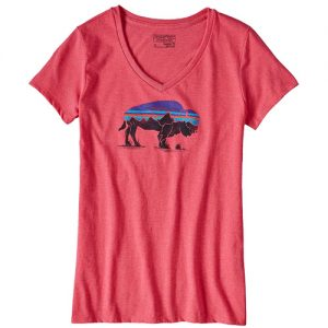 Fitz Roy Bison V-Neck T-Cerise