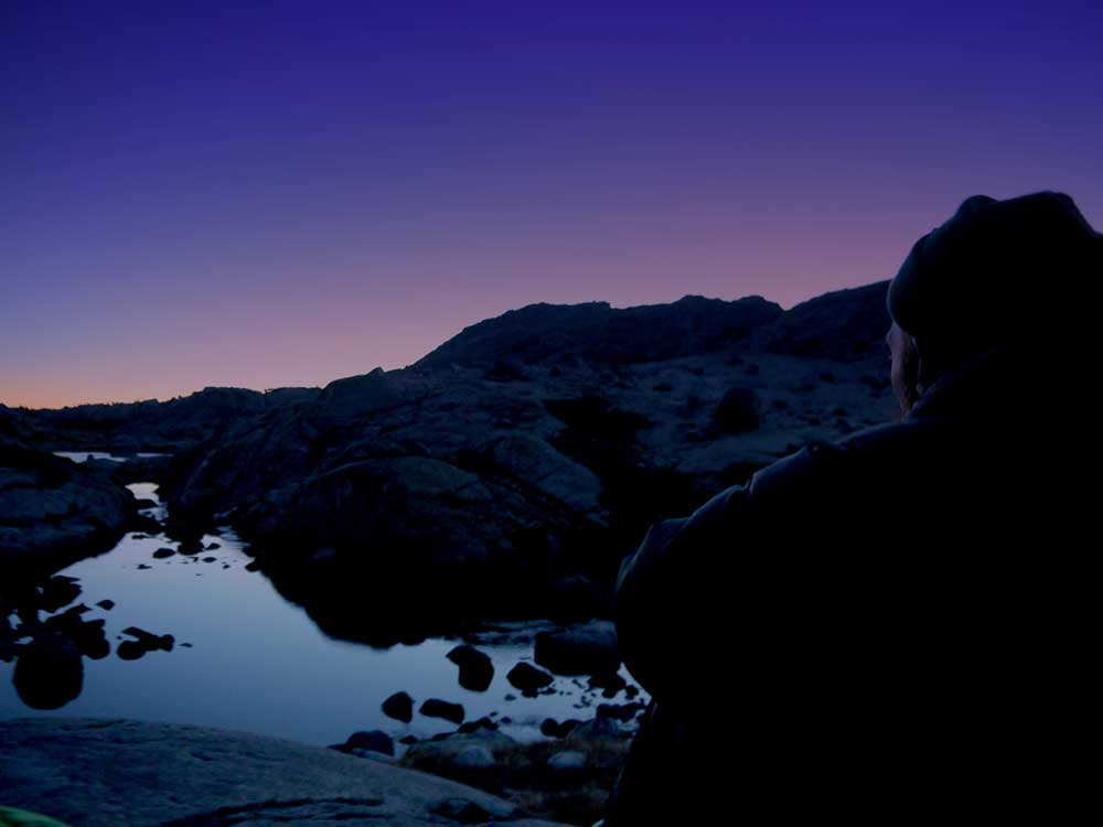 Josh in Titcomb Basin at Sunset
