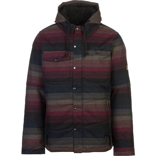 686 Mens Woodland Insulated Jacket Black Yarn Die Stripe Front