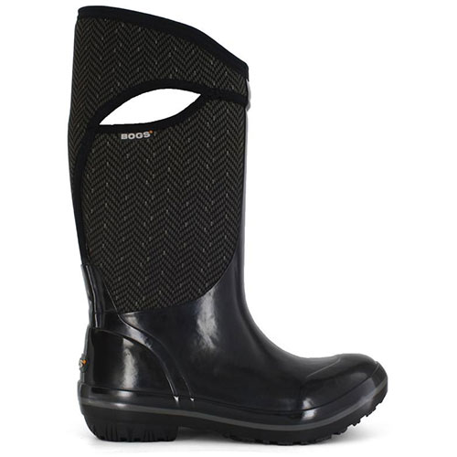 BOGS Women's Plimsoll High Herringbone Insulated Boots in Black Herringbone