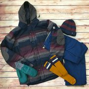 686 Men's Authentic Woodland Insulated Jacket in Blanket Stripe, FLYLOW GEAR Oven Mitts in Moss, SMARTWOOL Men's Slopestyle Tube Socks in Harvest Gold, 686 Men's Authentic Infinity Cargo Pants in Navy, SPACECRAFT COLLECTIVE Trapper Beanie in Navy