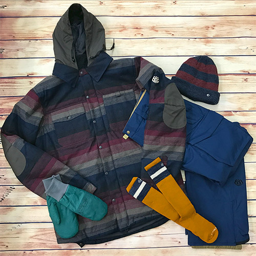 686 Mens Authentic Woodland Insulated Jacket In Blanket Stripe FLYLOW GEAR Oven Mitts Moss