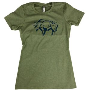 intrigue-ink-womens-bison-sketch-tee-military-green-front