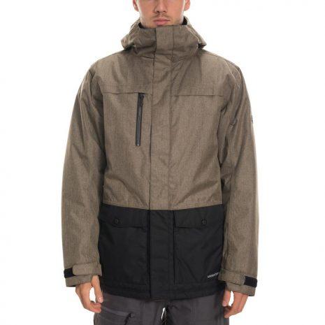 686 Men's Anthem Insulated Jacket, Khaki Melange Colorblock