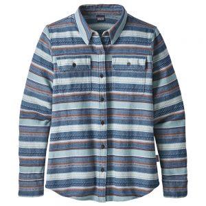 Patagonia Women's Long Sleeved Fjord Flannel Shirt, Folk Dobby Stone Blue
