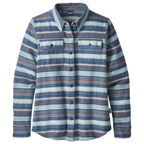 Patagonia Women's Long Sleeved Fjord Flannel Shirt, Folk Dobby Stone Blue