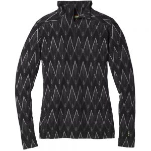 Smartwool Women's Merino 250 Baselayer Pattern 1/4 Zip, Black Charcoal Heather