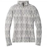 Smartwool Women's Merino 250 Baselayer Pattern 1/4 Zip, Light Gray Moonbeam Heather