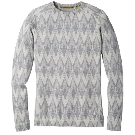Smartwool Women's Merino 250 Baselayer Pattern Crew, Light Gray Moonbeam Heather