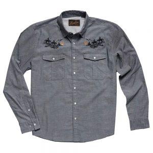 Howler Bros. Men's Gaucho Snapshirt, Howler Posse Blue Oxford