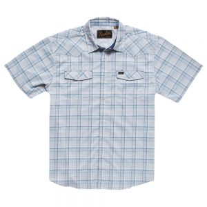 Howler Bros. Men's H Bar B Tech Shirt, Bolan Plaid Mystic Blue
