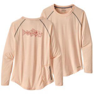 Patagonia Women's Tropic Comfort Sun Crew Fishing Shirt, Landscape Trout Light Peach Sherbet
