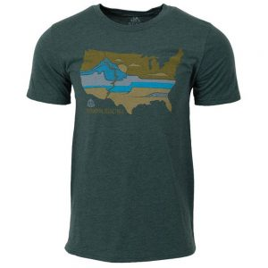 Seek Dry Goods Men's CDT United Landscapes T-Shirt, Heather Green