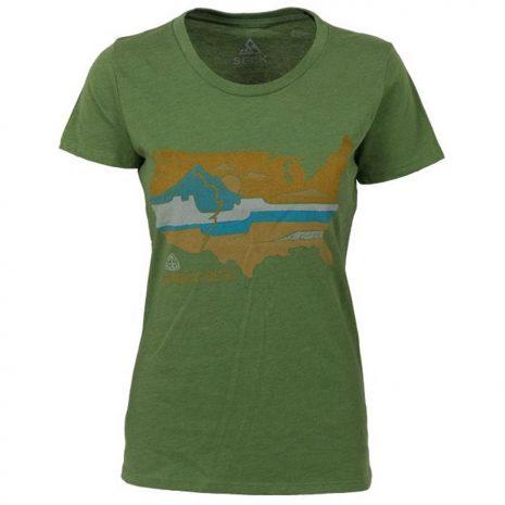 Seek Dry Goods Women's CDT United Landscapes T-Shirt, Heather Kiwi