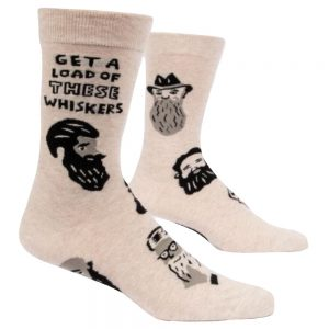 BLUE Q Men's Get A Load of These Whiskers Crew Socks