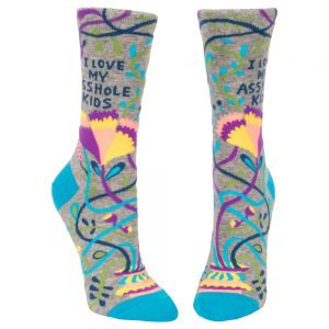 BLUE Q Women's I Love My Asshole Kids Crew Socks