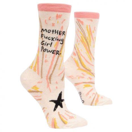 BLUE Q Women's Motherfucking Girl Power Crew Socks