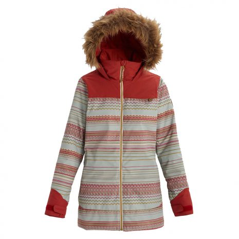 BURTON Women's Lelah Jacket, Aqua Gray Revel Stripe