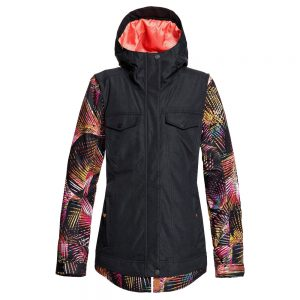 ROXY Women's Ceder Insulated Jacket, True Black Night Palm