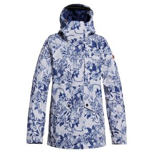 ROXY Women's Glade 2L GORE-TEX Insulated Jacket, Heather Gray Botanical Flowers