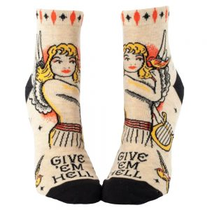 BLUE Q Women's Give 'Em Hell Ankle Socks