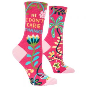 BLUE Q Women's Hi I Don't Care Thanks Crew Socks
