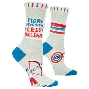 BLUE Q Women's More Feminism Less Bullshit Crew Socks