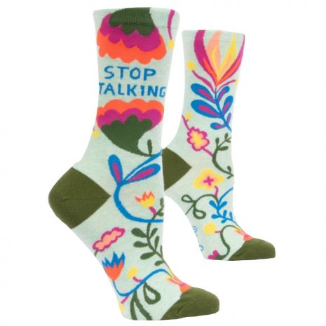 BLUE Q Women's Stop Talking Crew Socks
