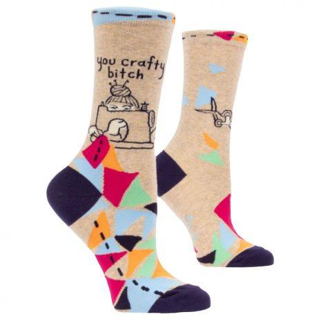 BLUE Q Women's You Crafty Bitch Crew Socks