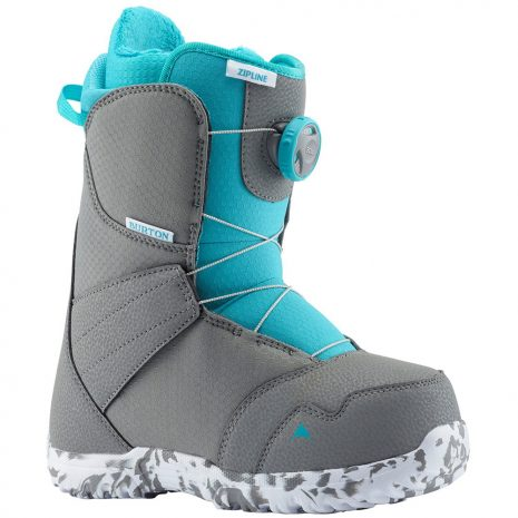 BURTON Kid's Zipline Boa Snowboard Boot - 2020, Gray Surf Blue