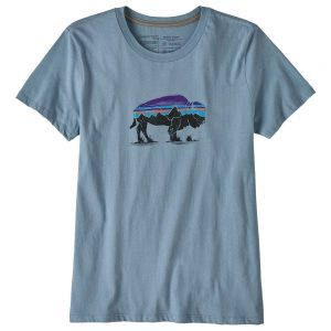 PATAGONIA Women's Fitz Roy Bison Organic Crew T-Shirt, Stone Blue