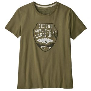 PATAGONIA Women's Defend Public Lands Organic Crew T-Shirt, Sage Khaki