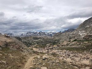 Looking north from the top of Lester Pass towards Titcomb Basin.