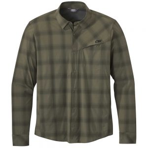 OUTDOOR RESEARCH Men's Astroman Long-Sleeved Sun Shirt, Fatigue Plaid