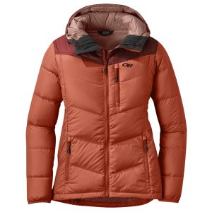 OUTDOOR RESEARCH Women's Transcendent Down Hoodie, Alpenglow Madder