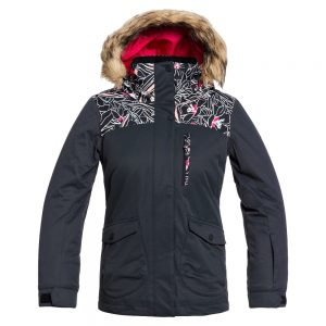 ROXY Girls' Moonlight Girl Insulated Jacket, True Black Outlines