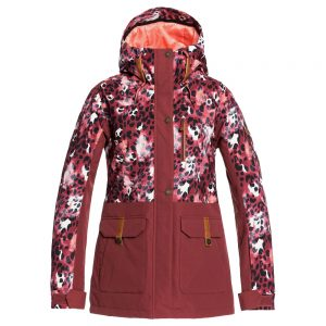 ROXY Women's Andie Insulated Jacket, Oxblood Red Leopold