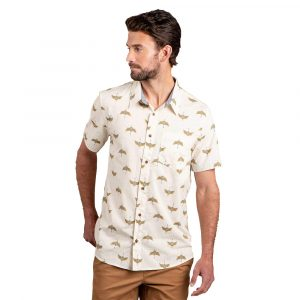 TOAD & CO. Men's Fletch Short-Sleeved Shirt, Salt Crane Print