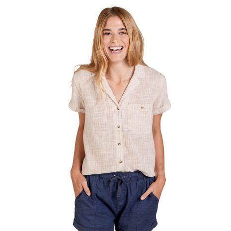 TOAD & CO. Women's Camp Cove Short-Sleeved Shirt, Salt Pinstripe
