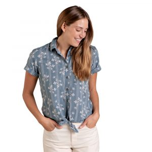 TOAD & CO. Women's Willet Tie Short-Sleeved Shirt, North Shore Floral Stripe